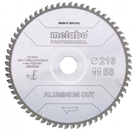 Пильный диск Metabo Aluminium cut HW/CT 216х2.2/1.8x30, Z58 FZ/TZ 5 град. (628443000)