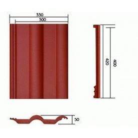 Цементно-піщана черепиця Vortex Подвійна римська 420x330 мм червона
