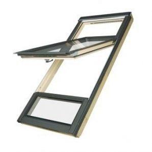 Двустворчатое мансардное FDY-V U3 Duet proSky окно с приподнятой осью поворота 78х206 см