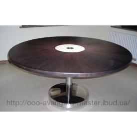 Стол круглый с деревянной столешницей