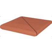 Ступень клинкерная угловая King Klinker Antyczna гладкая 330x330x16 мм красная