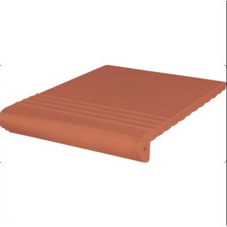 Ступень клинкерная King Klinker Antyczna рифленая 330x245x16 мм красная