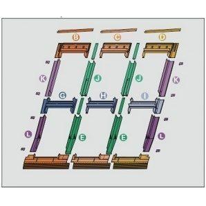 Оклад Roto EDR 3х2 для комбинированных установок из нескольких окон 74х160 см