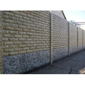 Установка бетонного декоративного забора Мрамор из бетона