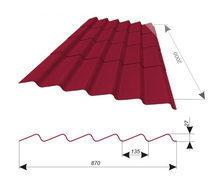 Кровельный материал Керамопласт Каскад 2000 2000x900x5 мм красный
