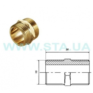 Ниппель С.Т.А. латунный 15 мм