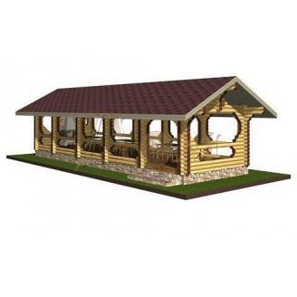Проект одноэтажной деревянной беседки 14*4,5 м