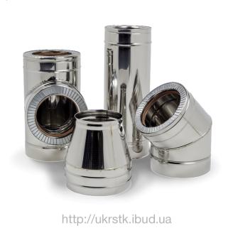 Дымоход двустенный из нержавеющей стали в нержавеющем кожухе 0,8х160/220 мм