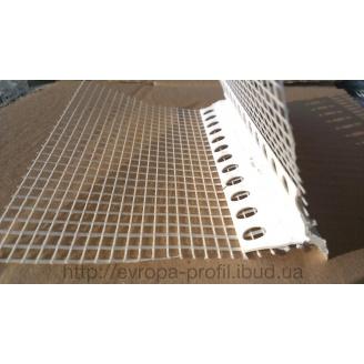 Профиль угловой с капельником ПВХ острый с сеткой 10/10 см 2,5 м