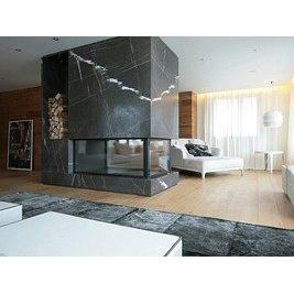 Камин в современном стиле из мрамора Торос Блек черный