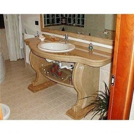 Мармурова стільниця під раковину у ванну кімнату