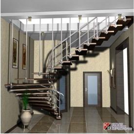 Мраморная лестница с металлическими перилами