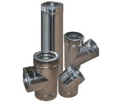 Дымоход двустенный из нержавеющей стали в оцинкованном кожухе 100/160х1 мм