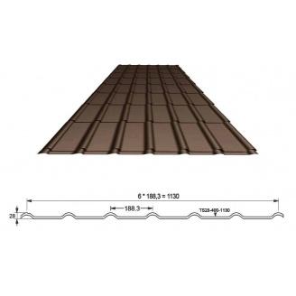 Металлочерепиця Ruukki Decorrey TS28-400-1130 темно-коричневая