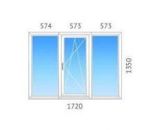 Окно трехстворчатое OPENTECK с однокамерным стеклопакетом 1720х1350 мм