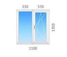 Окно двустворчатое OPENTECK с двухкамерным стеклопакетом 1100х1350 мм