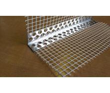Уголок перфорированный алюминиевый с сеткой из стекловолокна 7/7 см 3,0 м