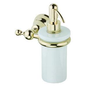 Керамический дозатор жидкого мыла DEVIT Charlestone с настенным держателем золото (4024.01HG)