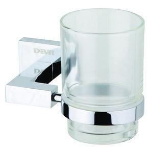 Стеклянный стакан DEVIT Quadro с держателем хром (09050SC)