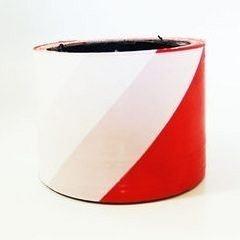Лента сигнальная Планета Пластик оградительная 75 мм красно-белый
