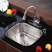 Комплект кухонный Kraus KBU11-KPF2220-KSD30CH умывальник+смеситель
