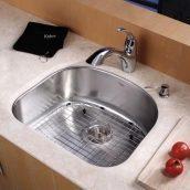 Комплект кухонный Kraus KBU10-KPF2210-KSD30CH умывальник+смеситель