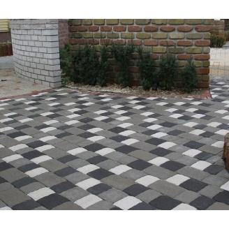 Тротуарна плитка Золотий Мандарин Стара площа на сірому цементі 240х160х80 мм