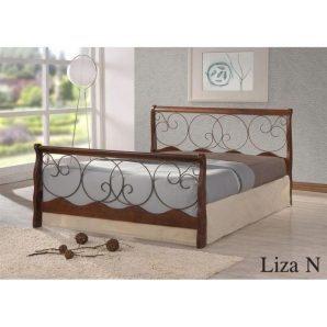 Кровать ONDER MEBLI Liza N 1600х2000 мм античное золото/орех