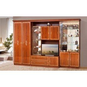 Стенка для гостиной Мир мебели Версаль 12 327x226x61 см каштан лак
