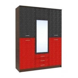Шафа для одягу і білизни БМФ Верона Ш-1470 1500х2060х530 мм лілія червона / чорна лак / венге темний