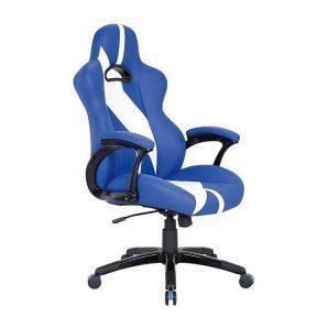 Кресло AMF Форсаж 5 PU синий 67x72x116 см белые вставки
