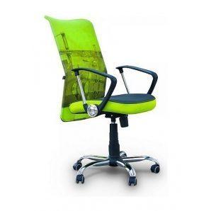 Кресло AMF Аэро HB сетка серая Zeus 047 Light Green/сетка лайм-Brooklyn Bridge 64x75x104 см