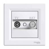 Розетка TV-SAT Schneider Electric Asfora EPH3400121 конечная 83х83х38 мм белый
