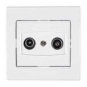 Розетка TV/R-SAT Schneider Electric Anya AYA3400221 проходная с затуханием 81,5х81,5х40 мм белый