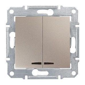 Выключатель двухклавишный Schneider Electric Sedna SDN0300368 синяя подсветка 71х71х42 мм титан