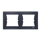 Рамка двухместная Schneider Electric Sedna SDN5800370 горизонтальная 80х156х7 мм графит
