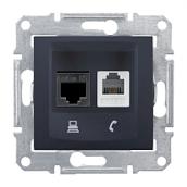 Розетка Schneider Electric Sedna SDN5100170 RJ11+RJ45 кат.5е UTP графит