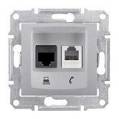 Розетка Schneider Electric Sedna SDN5200160 RJ11+RJ45 кат.6е UTP алюминий