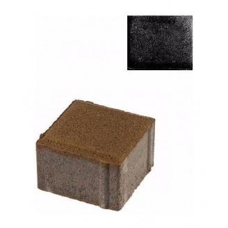 Тротуарная плитка ЮНИГРАН Евро 100х100х60 мм обсидиан на сером цементе