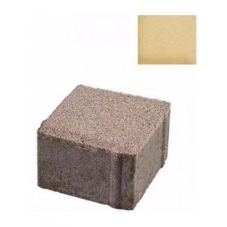 Тротуарная плитка ЮНИГРАН Евро 100х100х60 мм лимон на белом цементе