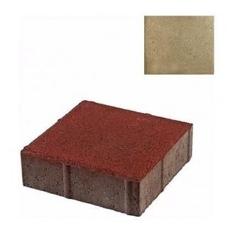 Тротуарная плитка ЮНИГРАН Квадрат 200х200х60 мм оливка на сером цементе