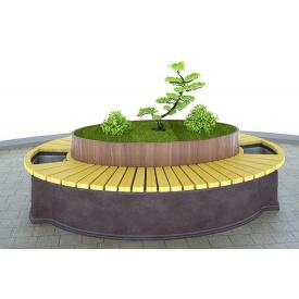 Лавочка-кашпо из бетона и дерева 2400х1600х700 мм