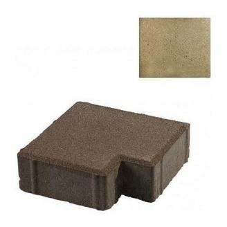 Тротуарная плитка ЮНИГРАН Тетрис 200х200х60 мм оливка на сером цементе