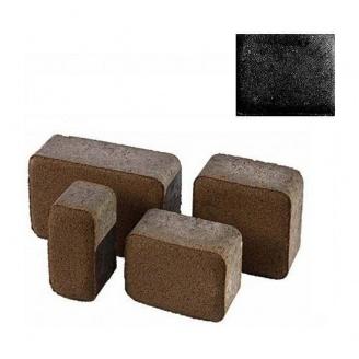 Тротуарная плитка ЮНИГРАН Старый город 60 мм обсидиан на сером цементе
