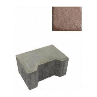 Тротуарна плитка ЮНІГРАН Двотавр П 200х140х100 мм каштан на сірому цементі