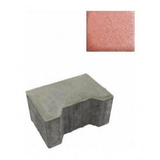 Тротуарна плитка ЮНІГРАН Двотавр П 200х140х100 мм вишня на сірому цементі