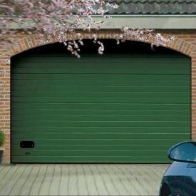 Ворота гаражные секционные Ryterna R40 stucco узкий гофр RAL 6005