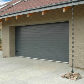 Ворота гаражні секційні Ryterna R40 stucco вузький гофр RAL 7016