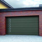 Ворота гаражні секційні Ryterna R40 woodgrain широкий гофр RAL 6003