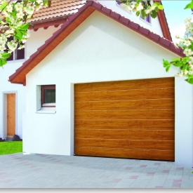 Ворота гаражные секционные Ryterna R40 slick широкий гофр Golden oak